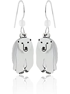 sterling silver .925 earrings with polar bear Hand Carved Polar bear earrings