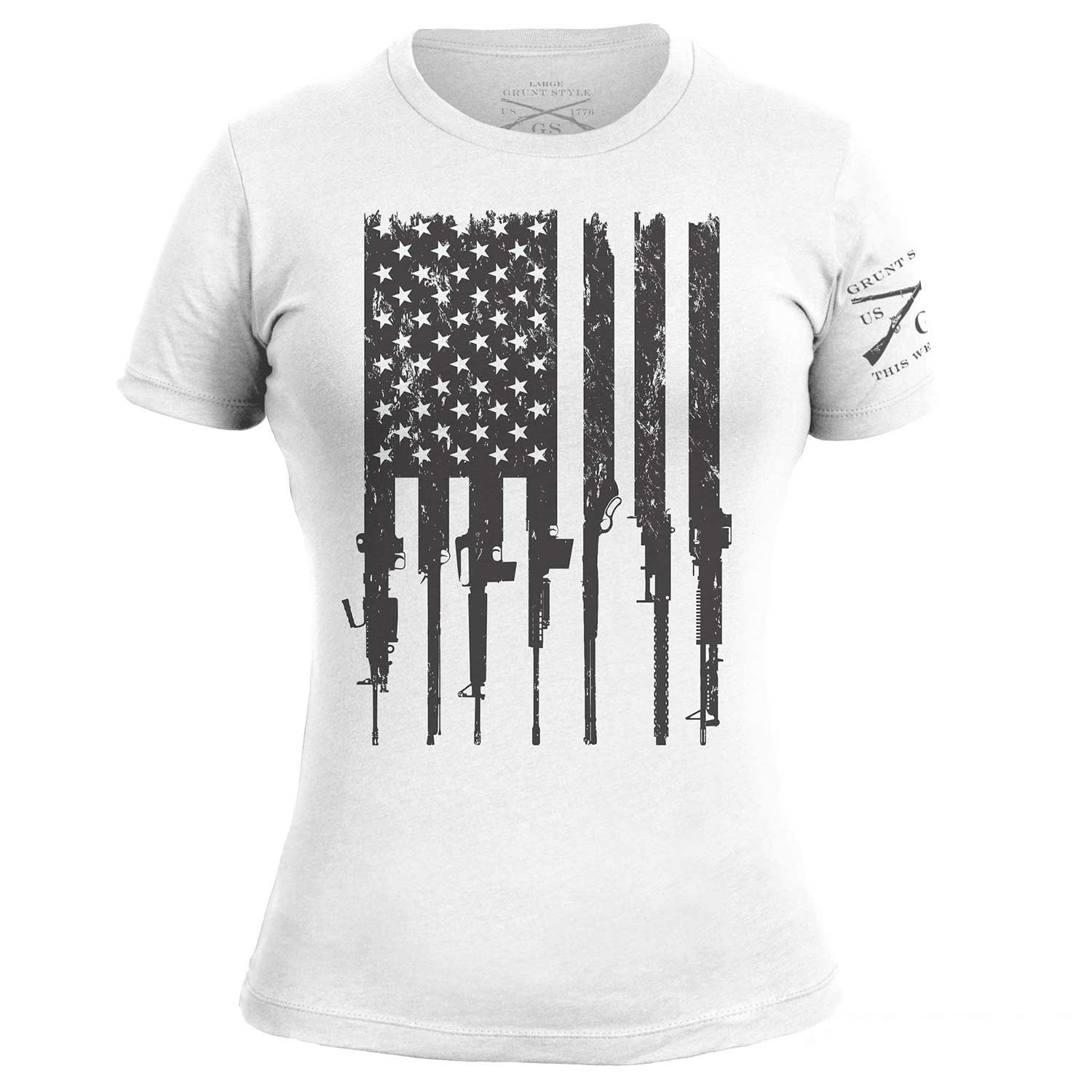 Grunt Style Rifle Flag Ladies T-Shirt, Color White, Size S