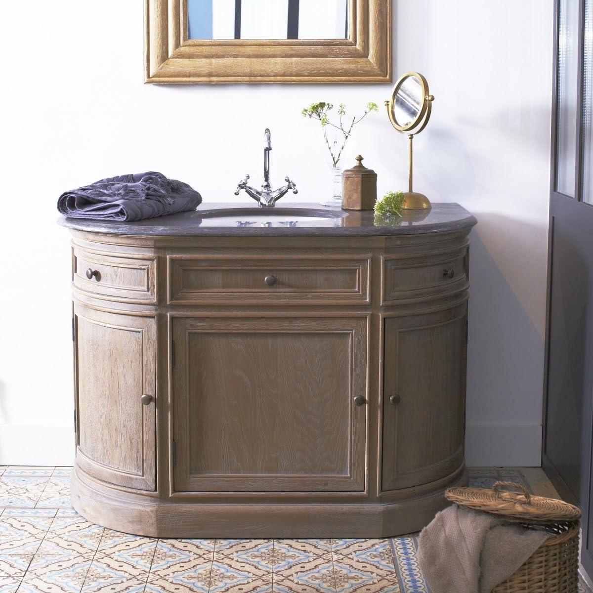 Tikamoon Louise Meuble Avec Simple Vasque Chene Gris 110 X 64 X 85 Cm Amazon Fr Cuisine Maison