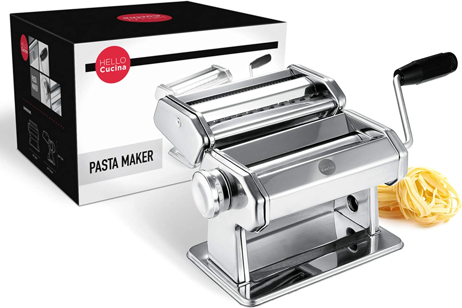 Hello Cucina Pasta Maker, Heavy Duty Dough Flattener Machine, Roller Cutter with Clamp & Hand Crank, 9 Adjustable Thickness Stainless Steel Rolling Press for Ravioli, Spaghetti with User Manual