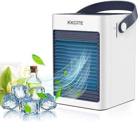 KKCITE Refrigerador de aire portátil, purificador de aire acondicionado, mini ventilador de evaporación silencioso, aire acondicionado móvil, ventilador de control táctil de 3 velocidades: Amazon.es: Hogar