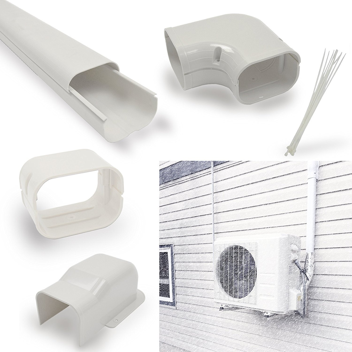 Jeacent 4 W 14'Ft Line Set Cover Kit -Decorative Tubing Cover for Mini Split and Central Air Conditioner &Heat Pump Jeacent Inovations