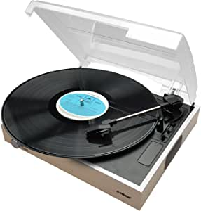 mbeat Wooden Style USB Turntable Record Player Vinyl to MP3 Built-in Stereo Speakers Natural