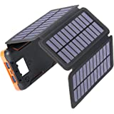 Solar Charger 25000mAh, Hiluckey Outdoor Portable Solar Power Bank with 4 Solar Panels, 18W PD USB C Fast Charge External Bat