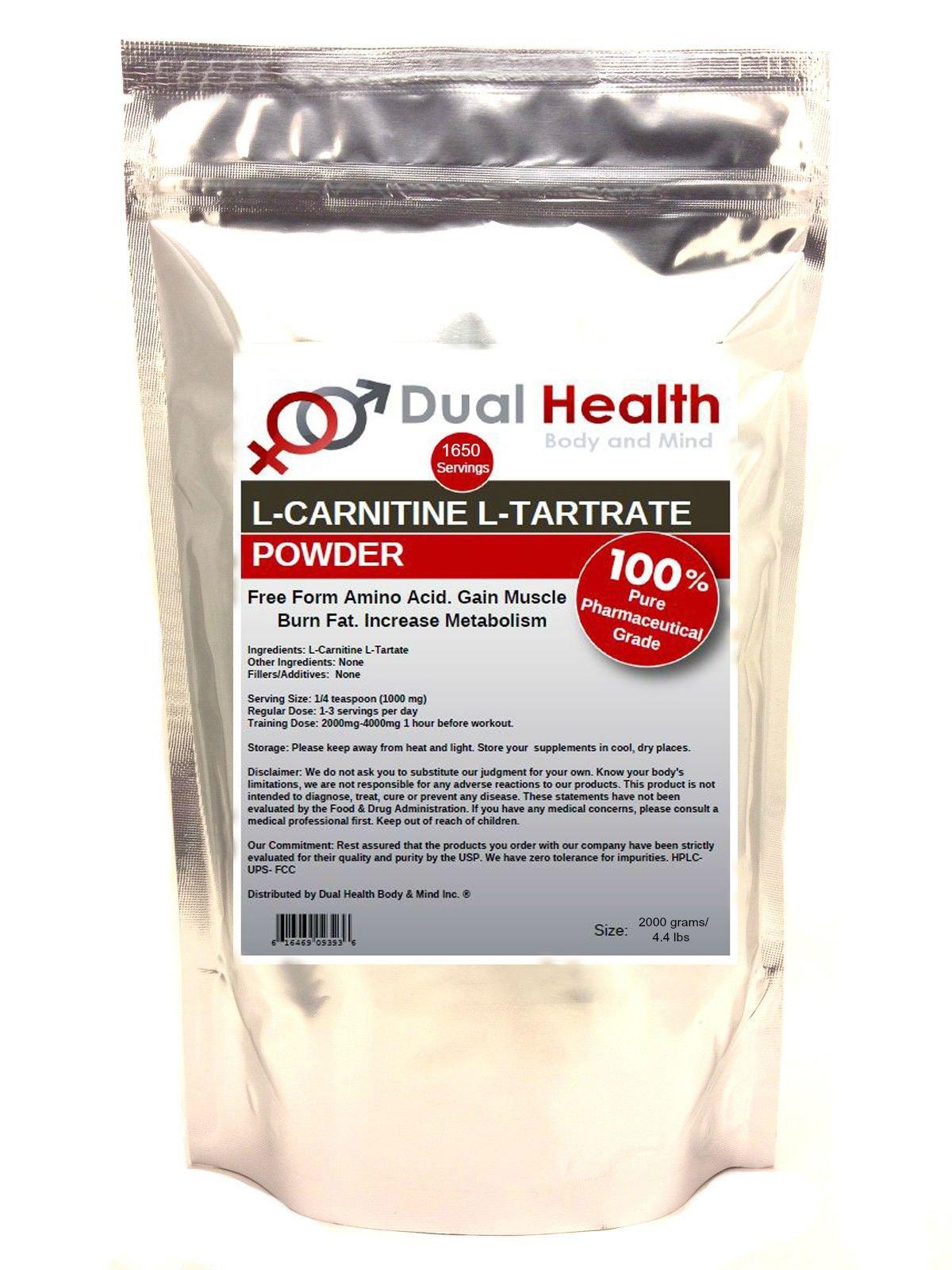 Pure L-Carnitine L-Tartrate Powder (2000 grams (4.4 lbs)) Bulk Supplements