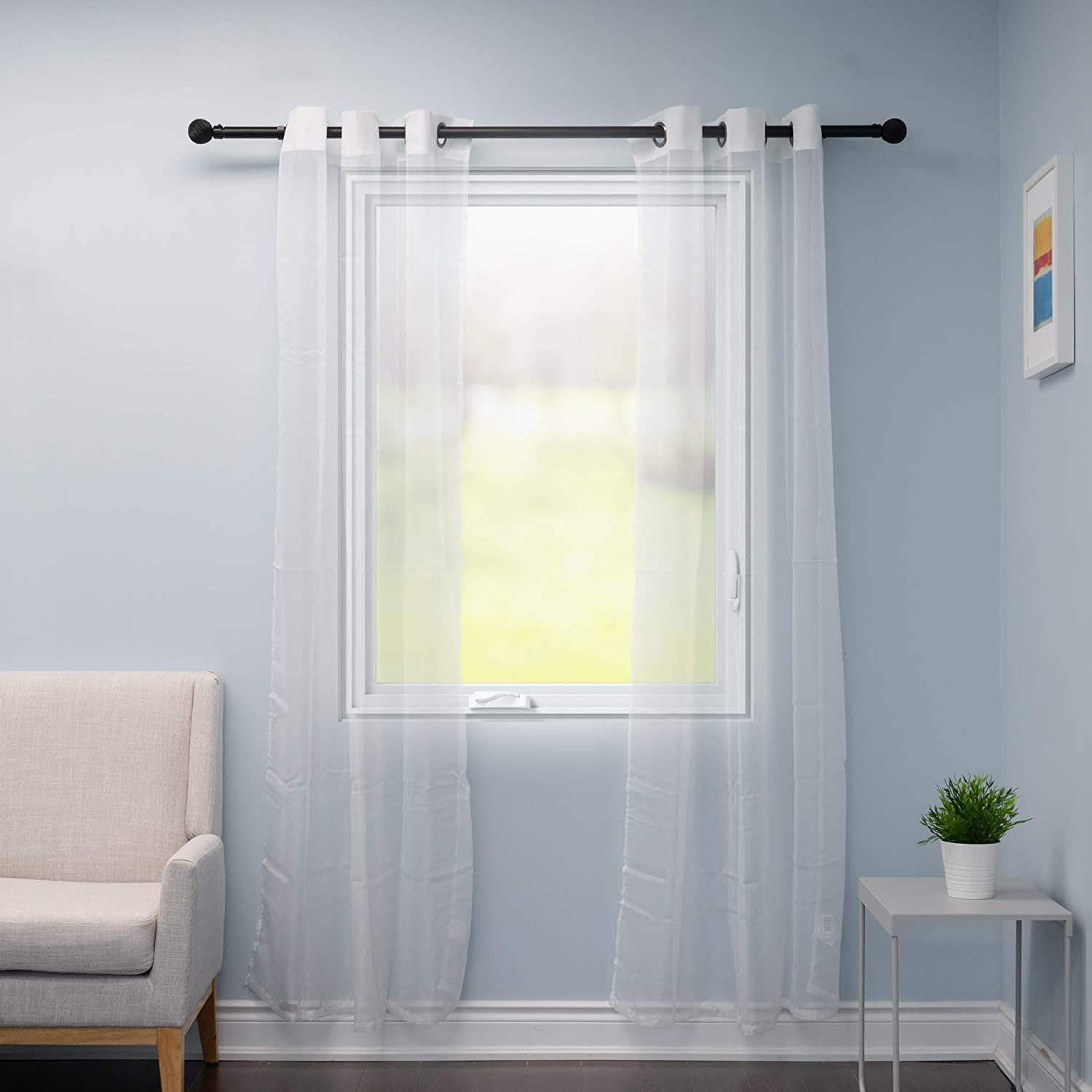 52 inches Wide Set of 2 /… Home Beyond White Window Sheer Voile Panel Curtain with Grommets 84 inches Long