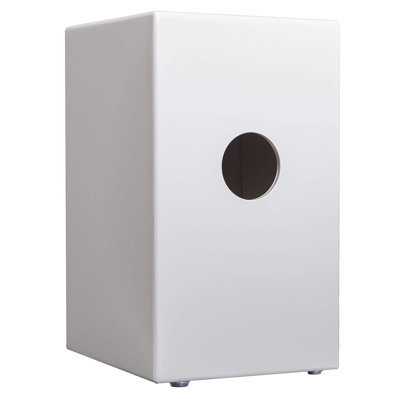 Corona percusion - Caja flamenca (Venus) tamaño adulto en acabado blanco lacado y tapa frontal en abedul lacado en negro, un acabado profesional y ...