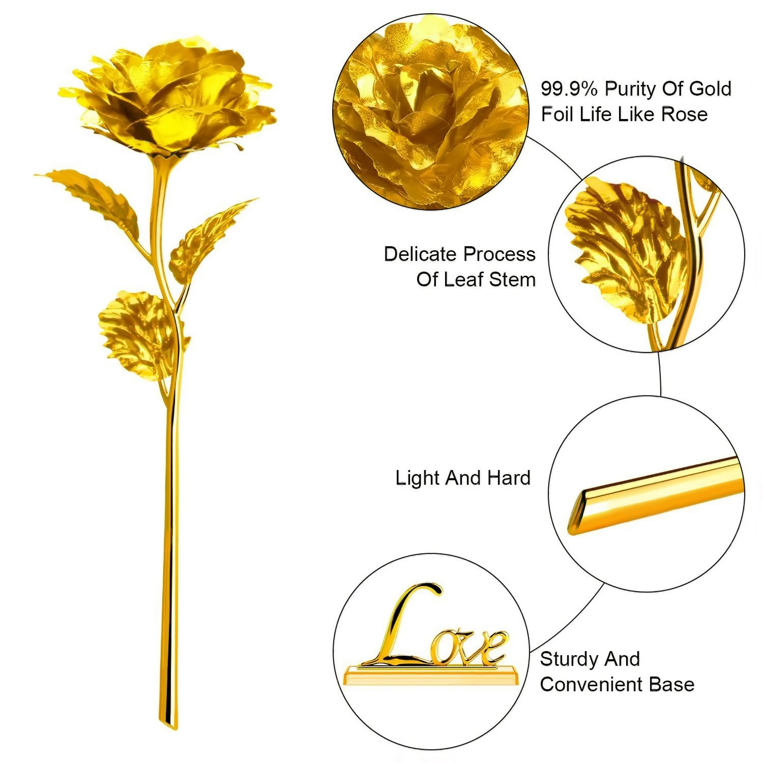 ProCIV Gold Roses, 24K Gold Foil Decoration Artificial Rose Flowers in Gift Box, Best Gift for Mother's Day, Valentine's Day, Wedding Day, Birthday, Christmas, Thanksgiving, Home Decor by ProCIV (Image #3)