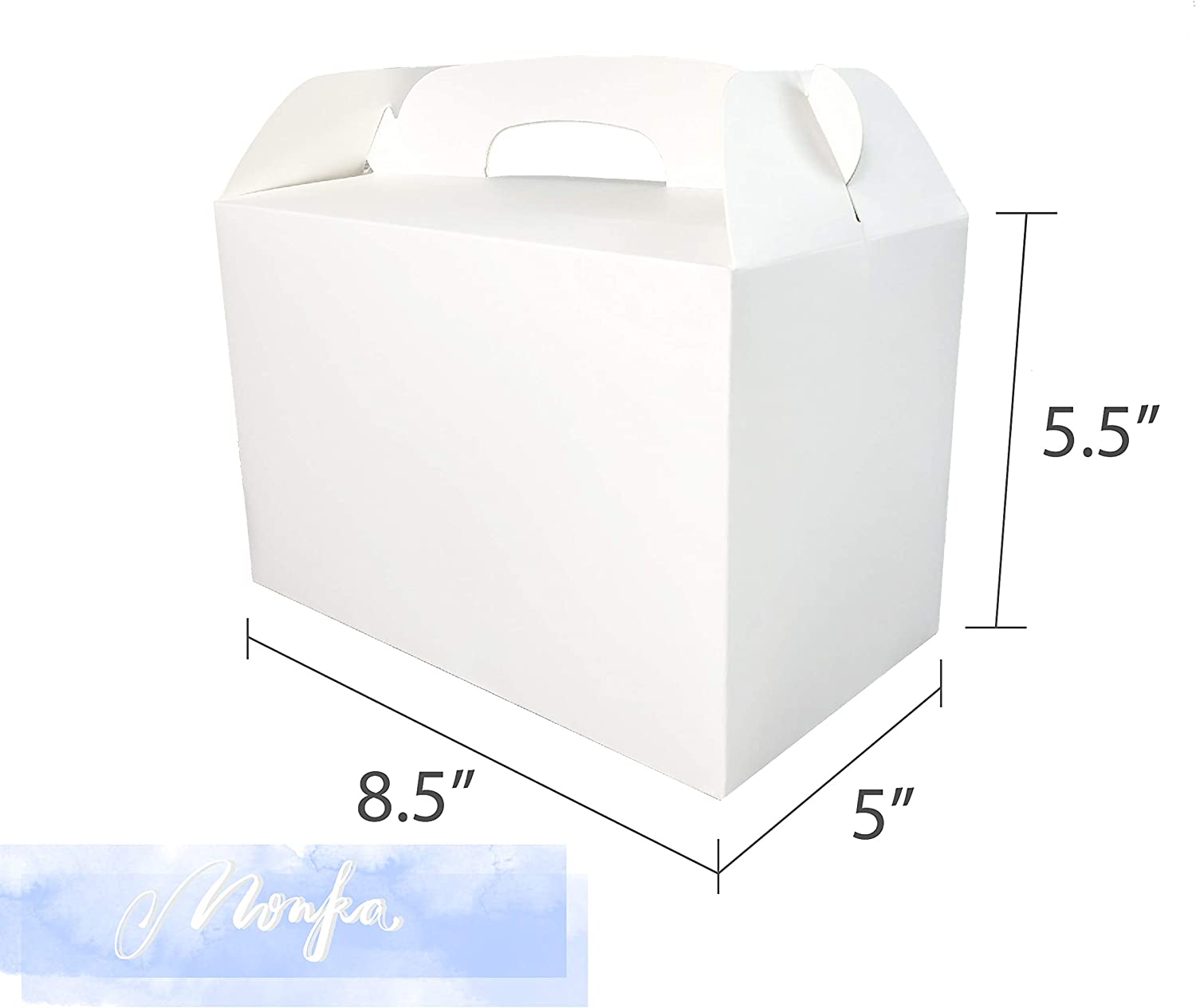 Birthday Goodies Box Party Box No Assembly Needed MintieJamie White Treat Boxes 2 Dozen White Boxes for Favor 8.5X5X5.5 Inches Large Handle Favor Boxes Kids Party Favor Box
