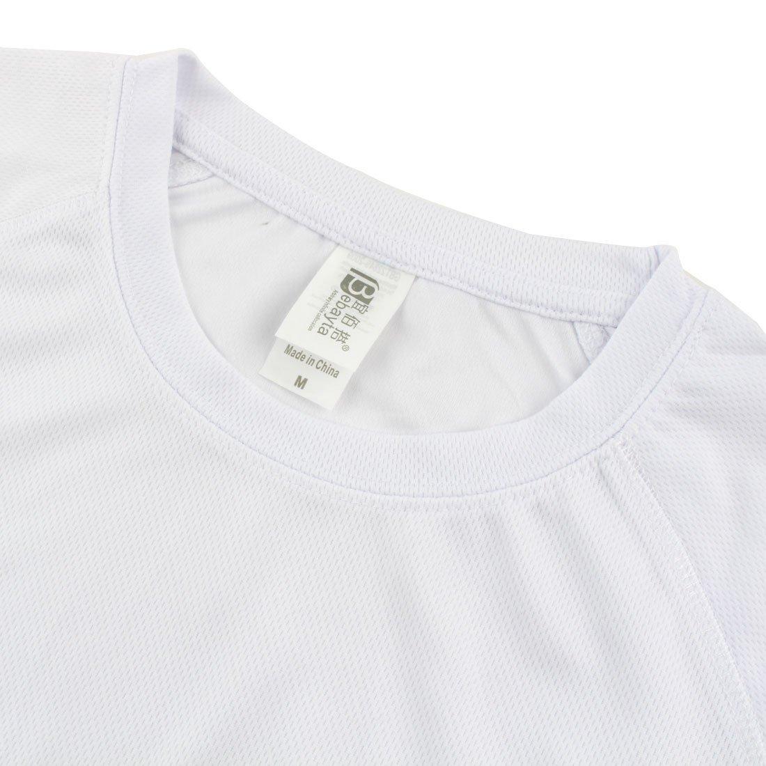 Amazon.com : eDealMax Hombres Ejercicio Publicidad, poliéster, secado rápido y transpirable de Manga Corta Deportes Camiseta, M/M (US 40) Blanca : Sports & ...