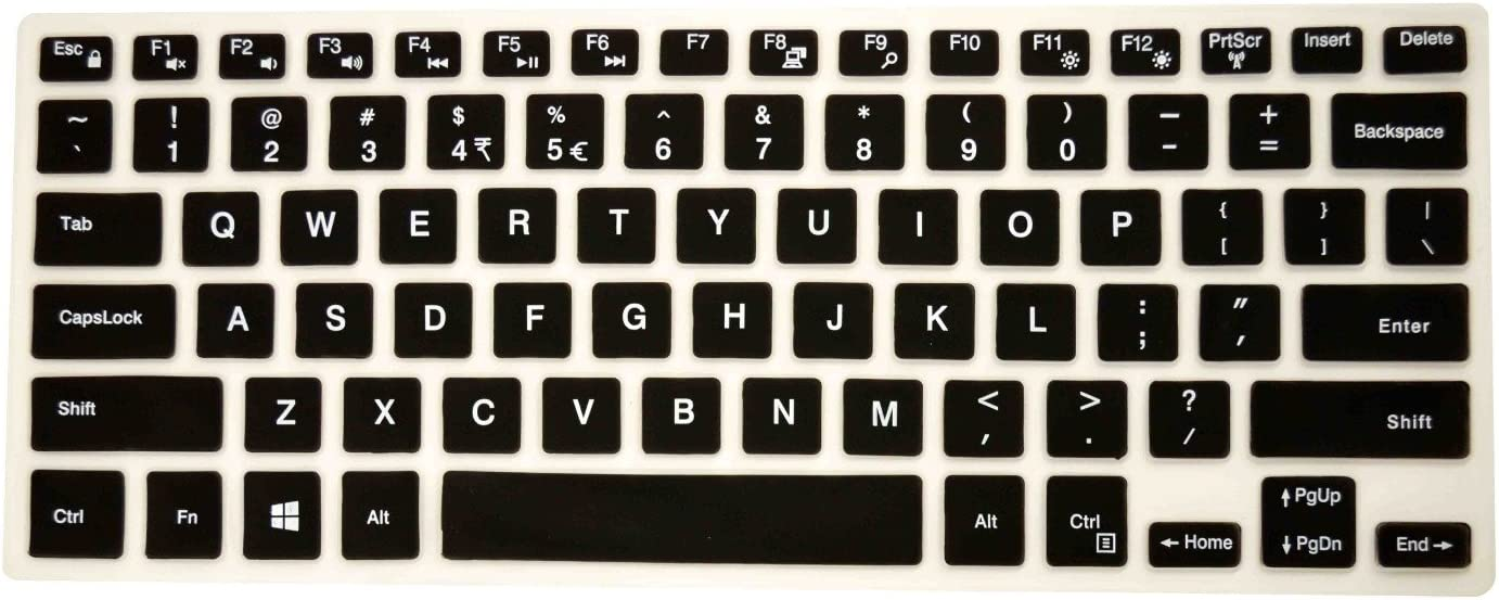 """PcProfessional Black Ultra Thin Silicone Gel Keyboard Cover for Dell Inspiron 14 5000 Series 14"""" Laptop with Application Kit (Please Compare Keyboard Layout and Model)"""