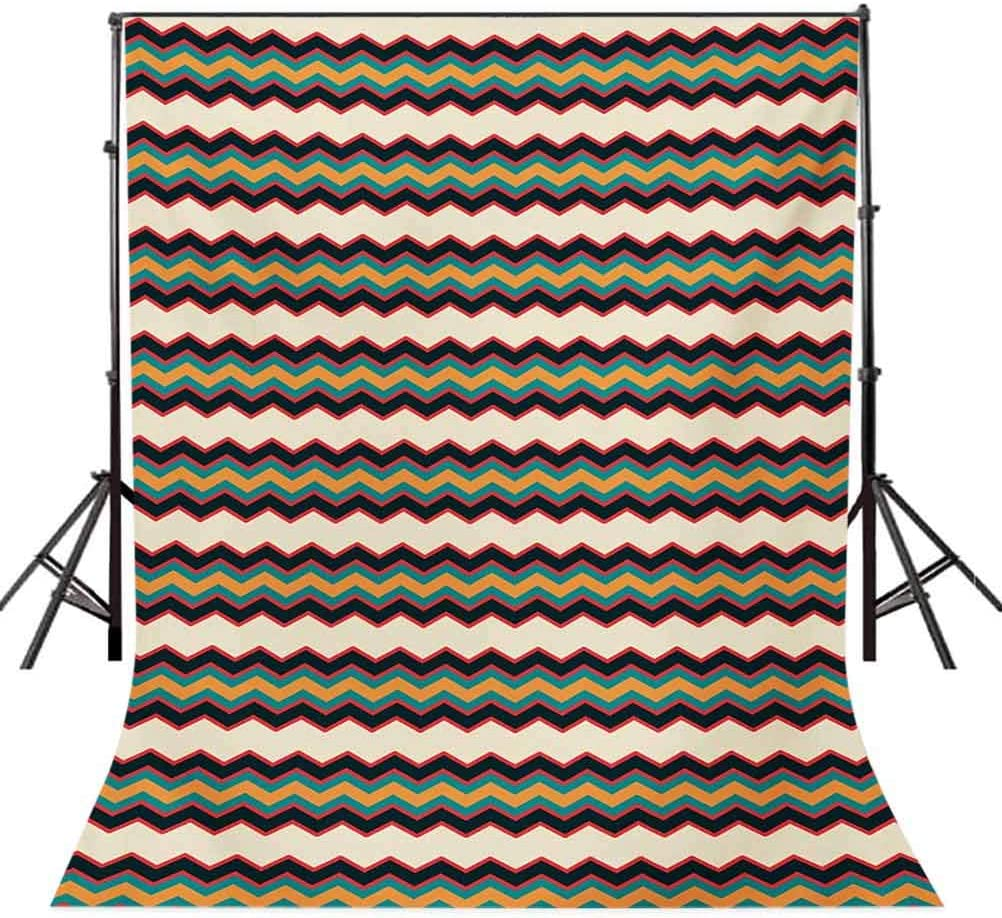 8x10 FT Photo Backdrops,Retro Style Horizontal Borders with Different Colored Zig Zag Lines Old Fashioned Background for Baby Shower Birthday Wedding Bridal Shower Party Decoration Photo Studio