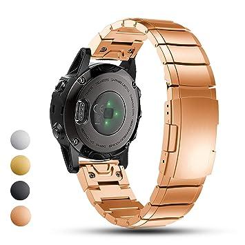 Feskio - Correa de Repuesto para Reloj GPS Garmin Fenix 5S (Acero Inoxidable), Oro Rosa: Amazon.es: Deportes y aire libre