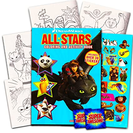 Amazon Com Dreamworks Giant Coloring Book With Stickers 144