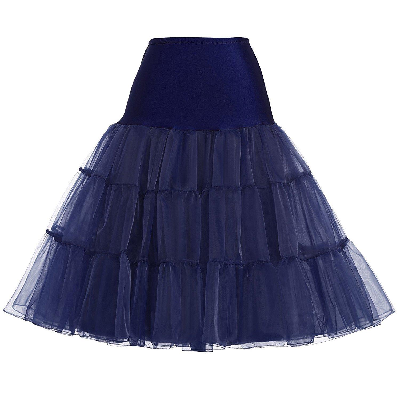 Wishopping Women 1950s Rockabilly Tutu Skirt Crinoline Petticoat P18 Navy Blue Size L