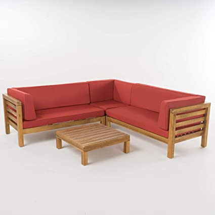 Gdf Studio Ravello Outdoor 5 Seater V Shaped Mid Century Modern Acacia Wood Sectional Sofa Set With Coffee Table Teak And Red