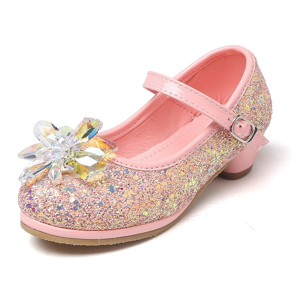 Chiximaxu Maxu Girl's Cosplay Princess Shoes Low Heel With Crystal Flower Pink Little Kid Size 12
