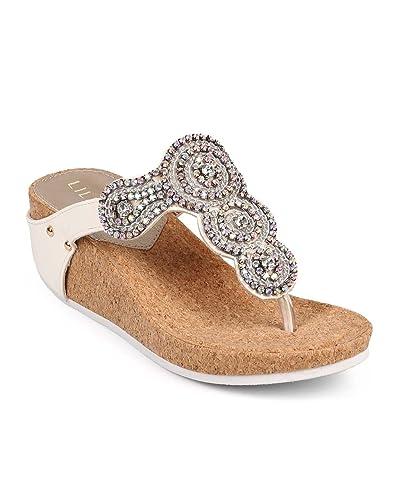 a45564f14 Liliana Women Leatherette Medallion Rhinestone Thong Cork Wedge Sandal DF53  - White (Size  7.5