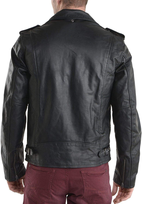 brandMe Mens Genuine Leather Pure Lambskin Biker Jacket MM080