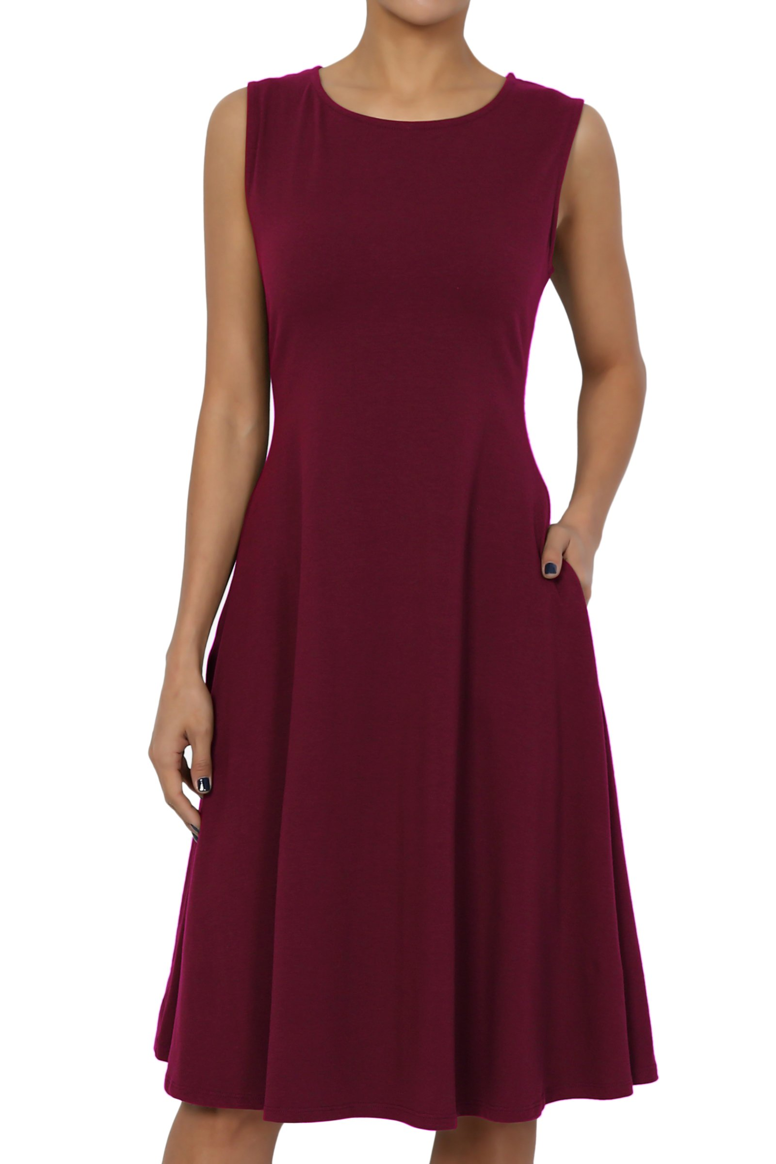 TheMogan Women's Sleeveless Pocket Stretch Cotton Fit & Flare Dress Dark Burgundy 3XL