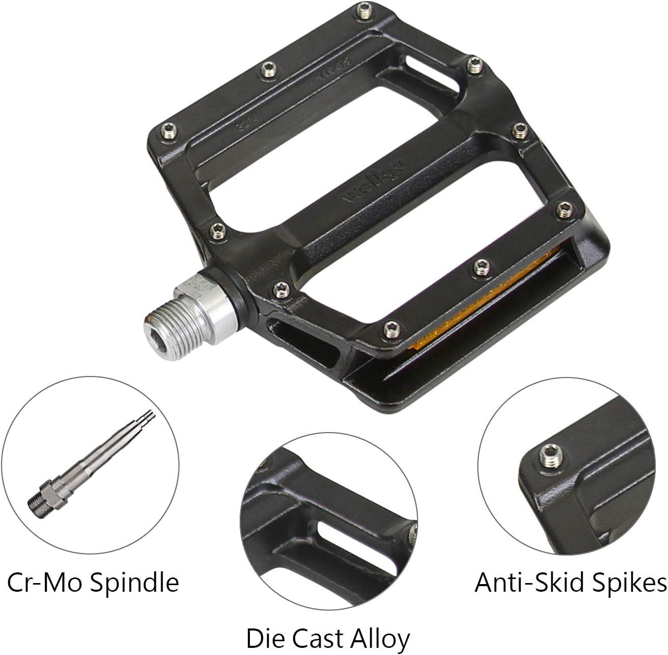 "Wellgo B233AL Cr-Mo Spindle 9//16/"" DU Sealed Bearing Bicycle Bike Pedals Platform"