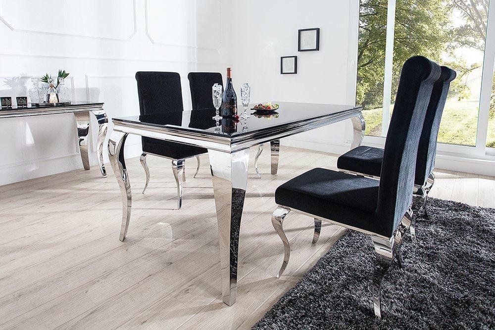 Esstisch MODERN BAROCK schwarz silber 180 cm Opalglas Tisch ...