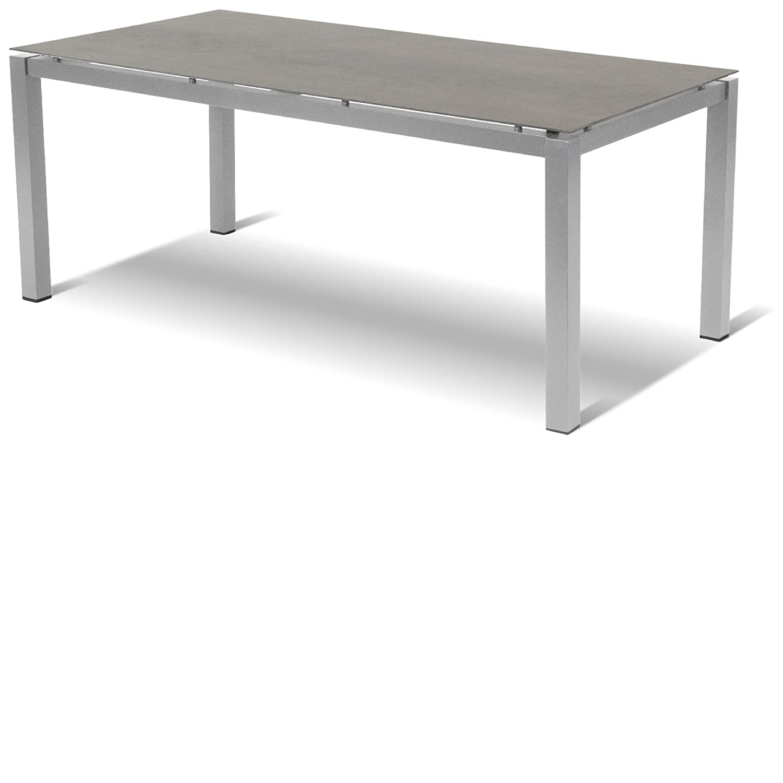 Hartman Tisch Imperial 180 x 90 cm Aluminium silber-Glas xerix 5 mm Platte Granit schwarz 2 cm