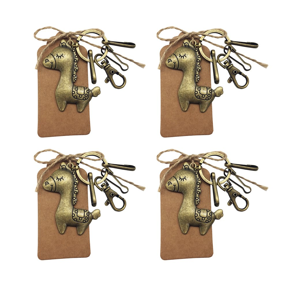 Horse Key Ring Chain Key Holder Party Favors for Guests Rustic Vintage Metal Chain Charm For Baby Birthday Baby Shower Gift Party Decoration with Escort Card Tag and Twine Pack of 4 ((Gold-Horse 4Ps)