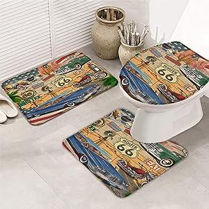 """Fantasy Star Bath Rugs Set 3 Piece, Retro Car Motel Route 66 Washable Memory Foam Non-Slip Contour Mat Toilet Lid Cover Bath Mat Sets for Bathroom Decor, 20"""" x 32"""" + 16"""" x 18"""" + 16"""" x 20"""" Large Size"""