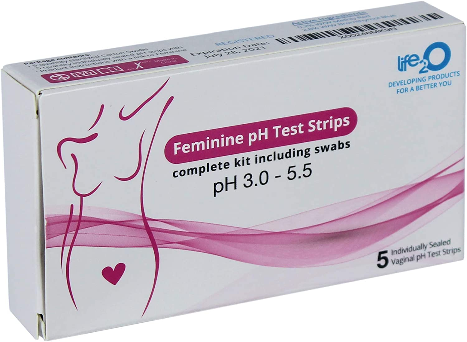Feminine Hygiene Vaginal Health pH Test Strips, pH Balance for Women, Individually Wrapped Testing Kit, Medical Swabs Included, Monitor for Infection and Know if You Need Treatment