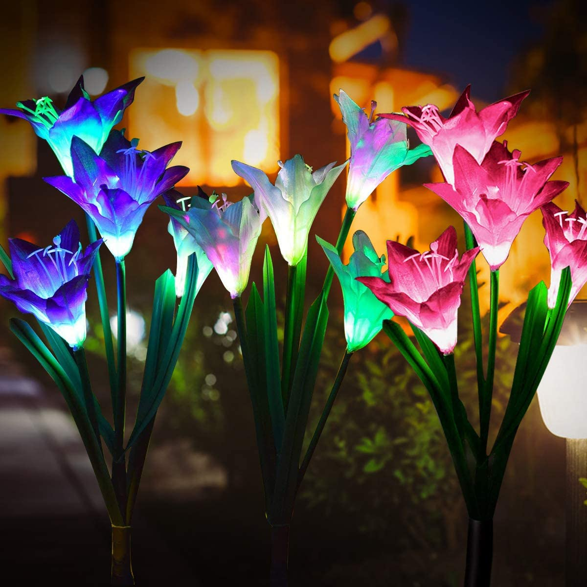 Pussan Solar Lights Outdoor Fairy Garden Lights Solar Powered Lamps 3 Pack with 7 Lily Flower Multi Color Changing LED, Outdoor Ornaments Patio Yard Lawn Garden Decoration Light