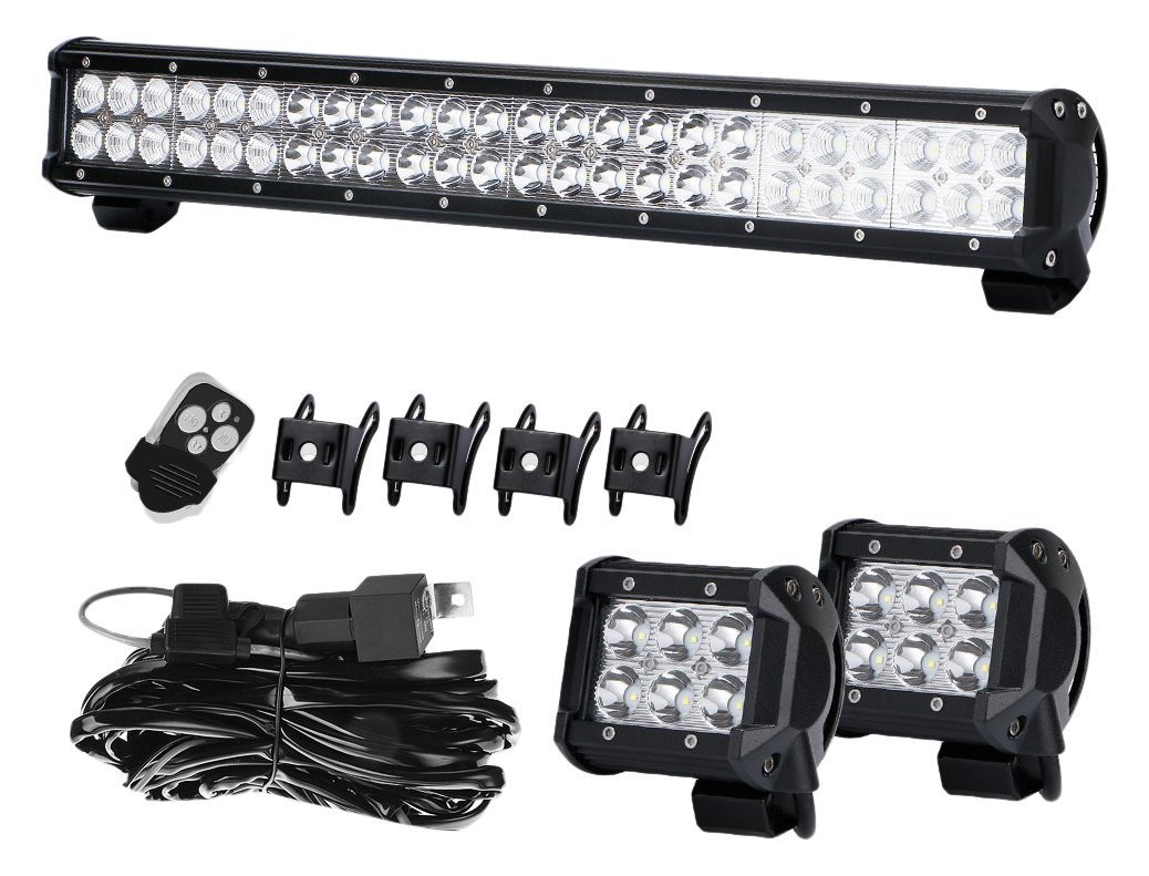 Grill Guard Bumper 23 24 Inch Led Light Bar 144w Spot Bennche Fuse Box Flood 4 18w Cube Pods Offroad Fog Work Lamps With Remote Switch Wiring Harness Fit