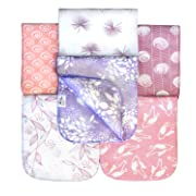 6 Pack Organic Premium Cotton Burp Cloths for Girls, Extra Large, Reversible, with 3 Layer Inner Fleece Absorbency, 10 x22 , Baby Shower Gift