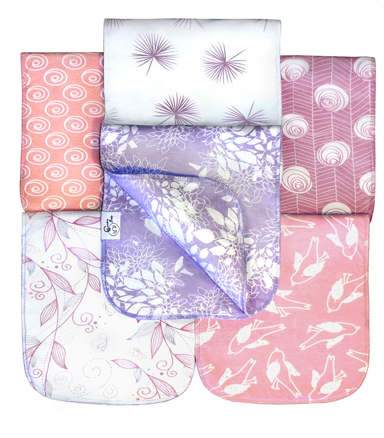 6 Pack Organic Premium Cotton Burp Cloths for Girls, Extra Large, Reversible, with 3 Layer Inner Fleece Absorbency, 10''x22'', Baby Shower Gift