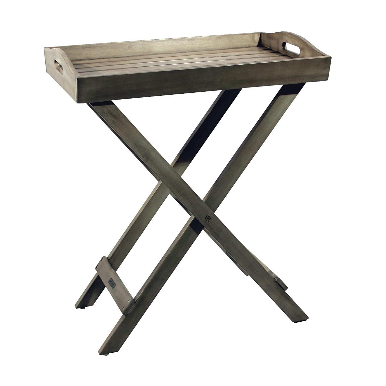 Akazienholz Tablett mit St/änder 60x40x72 cm