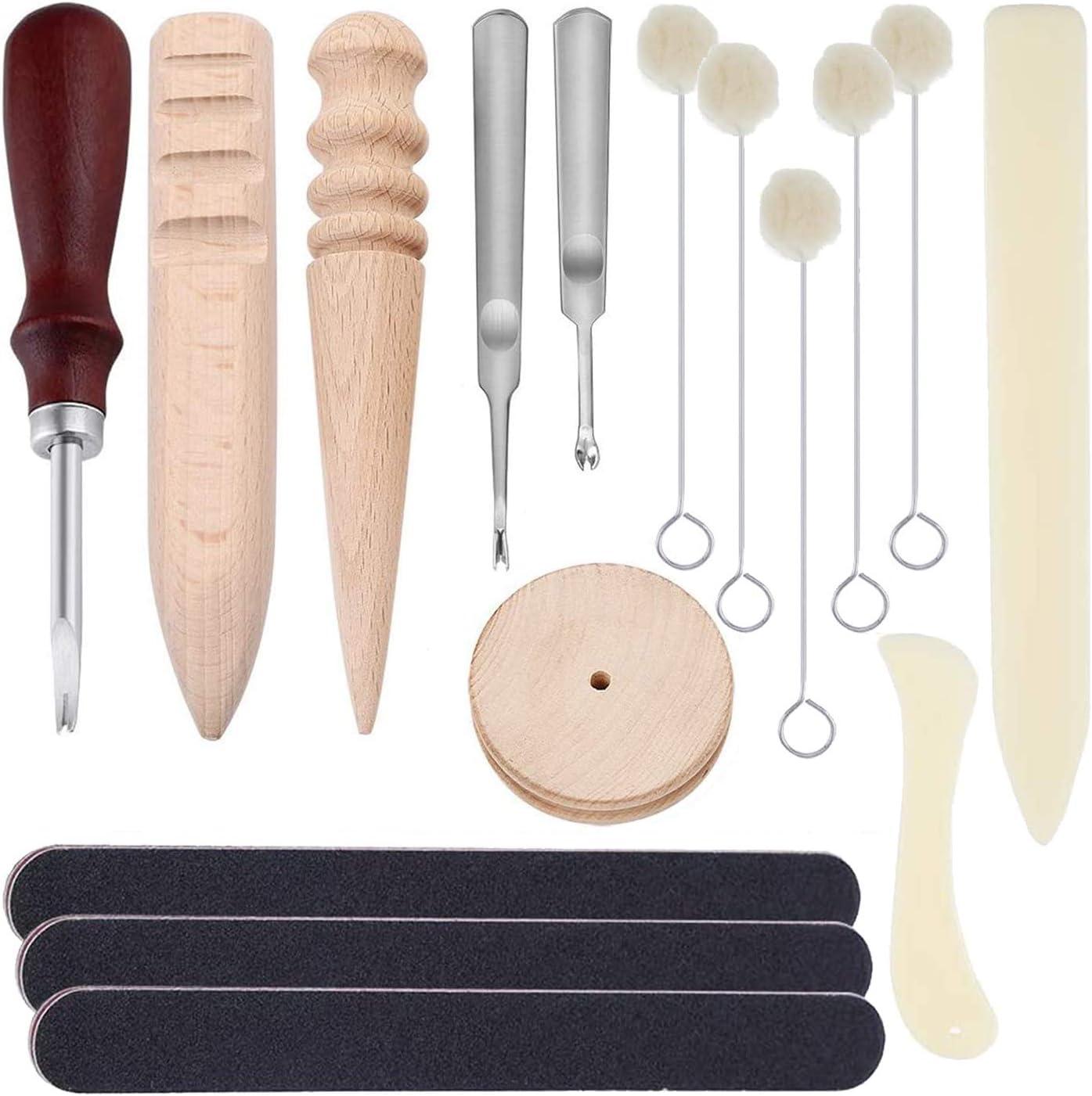 Pulidora pulidora de bordes 16 Pcs Herramienta de artesan/ía de cuero Kit de Bricolaje Biseladora de filo de borde Daubers de lana