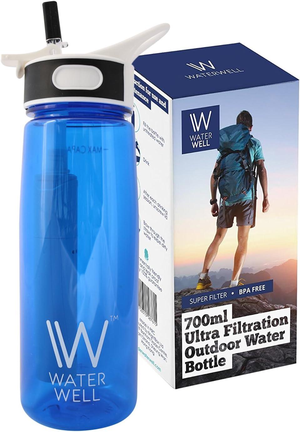 Botella de Agua de Viaje- Purifica el Agua al Eliminar 99.9% de Bacterias y Parásitos del Agua- Flujo aumentado y 100% a prueba de fugas. Botella con tapa higiénica - Filtra 1000 Litros 700ml