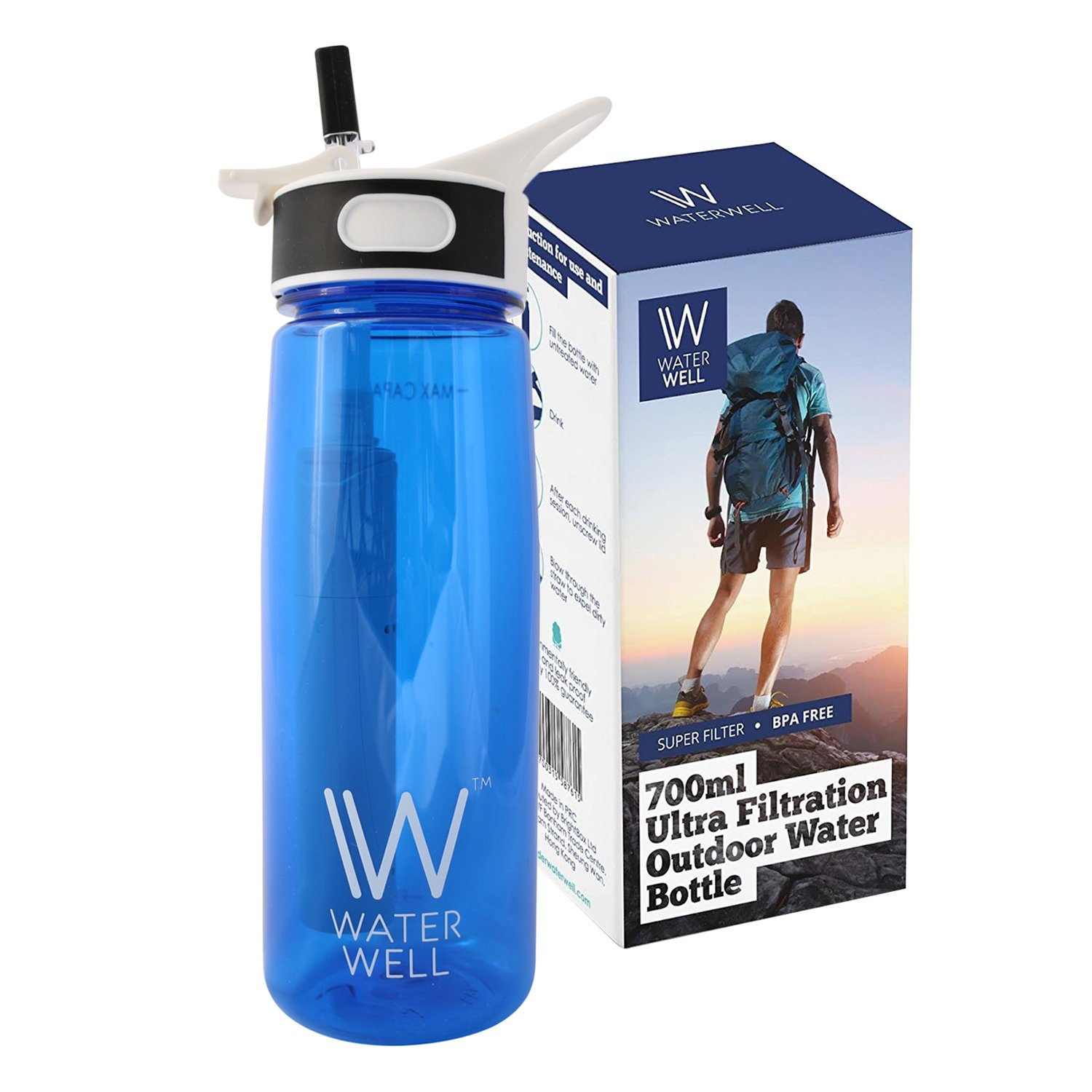 WaterWell™ Travel Ultra 2 Stage Filter Water Bottle - Filters 99.9% of Waterborne Pathogens - 1000 Litre Lifespan // 700ml Capacity Version -- (UPDATE: APRIL 2018 - Product improvements include stronger plastic lever, faster filter flow rate and BPA-free leak-proof reinforced tritan plastic body)