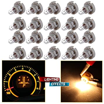 cciyu T5//T4.7 Neo Wedge Halogen Bulb A//C Climate Control Instrument Cluster Panel Dashboard Gauges Light Ice Blue,6Pack