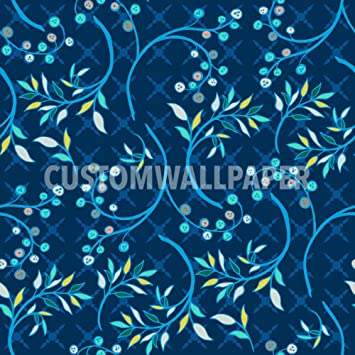 blueberry blue patterned wallpaper by customwallpaper com amazon com