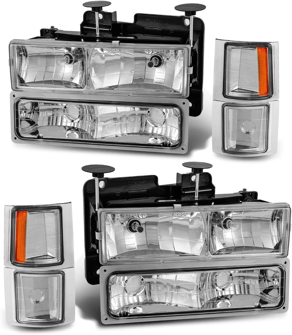 HEADLIGHTSDEPOT Chrome Housing Halogen Headlights Compatible with Chevrolet Truck Blazer Suburban C//K 1500 2500 3500 Tahoe Includes Driver and Passenger Side Headlamps w//Corners and Signal Lights