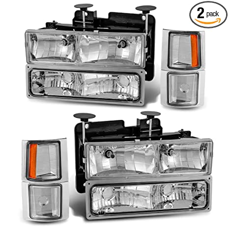 Headlight Assembly Kit for Chevy C/K Series 1500 2500 3500 / Chevy  Tahoe/Chevy Suburban/Chevy Silverado Crystal Headlamp w/Corner & Bumper  Chrome