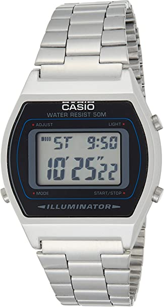 Amazon Com Casio B640wd 1a Men S Silver Digital Retro Stainless Steel Watch Casio Watches