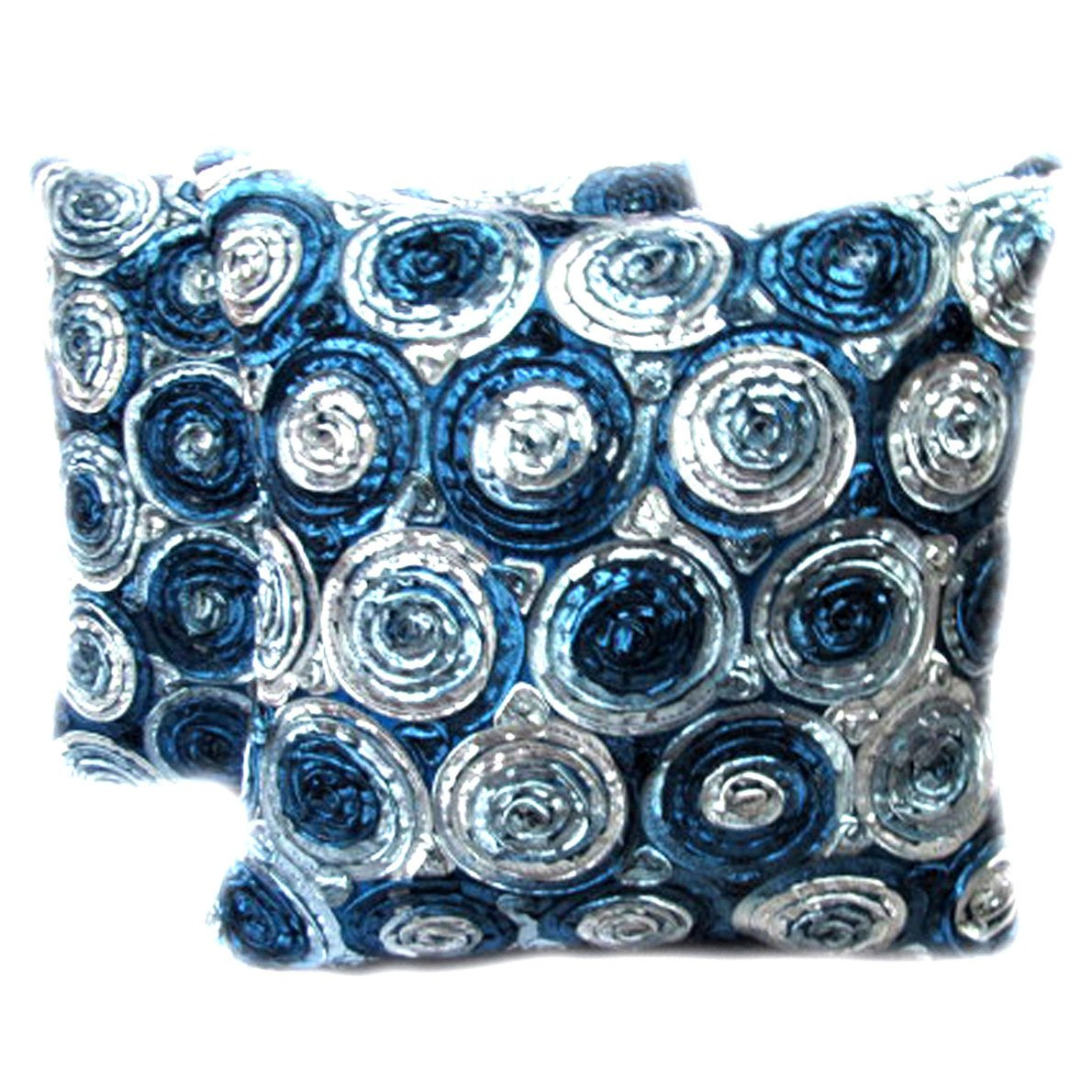 Beautiful, One Pair Two Tone 3d Bouquet of Blue Roses Throw Cushion Cover/pillow By Satin and Thai Silk for Decorative Sofa, Car and Living Room by Night Bazaar