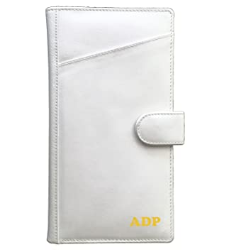 c54e9f222609 Personalized Monogrammed White Leather RFID Travel Wallet