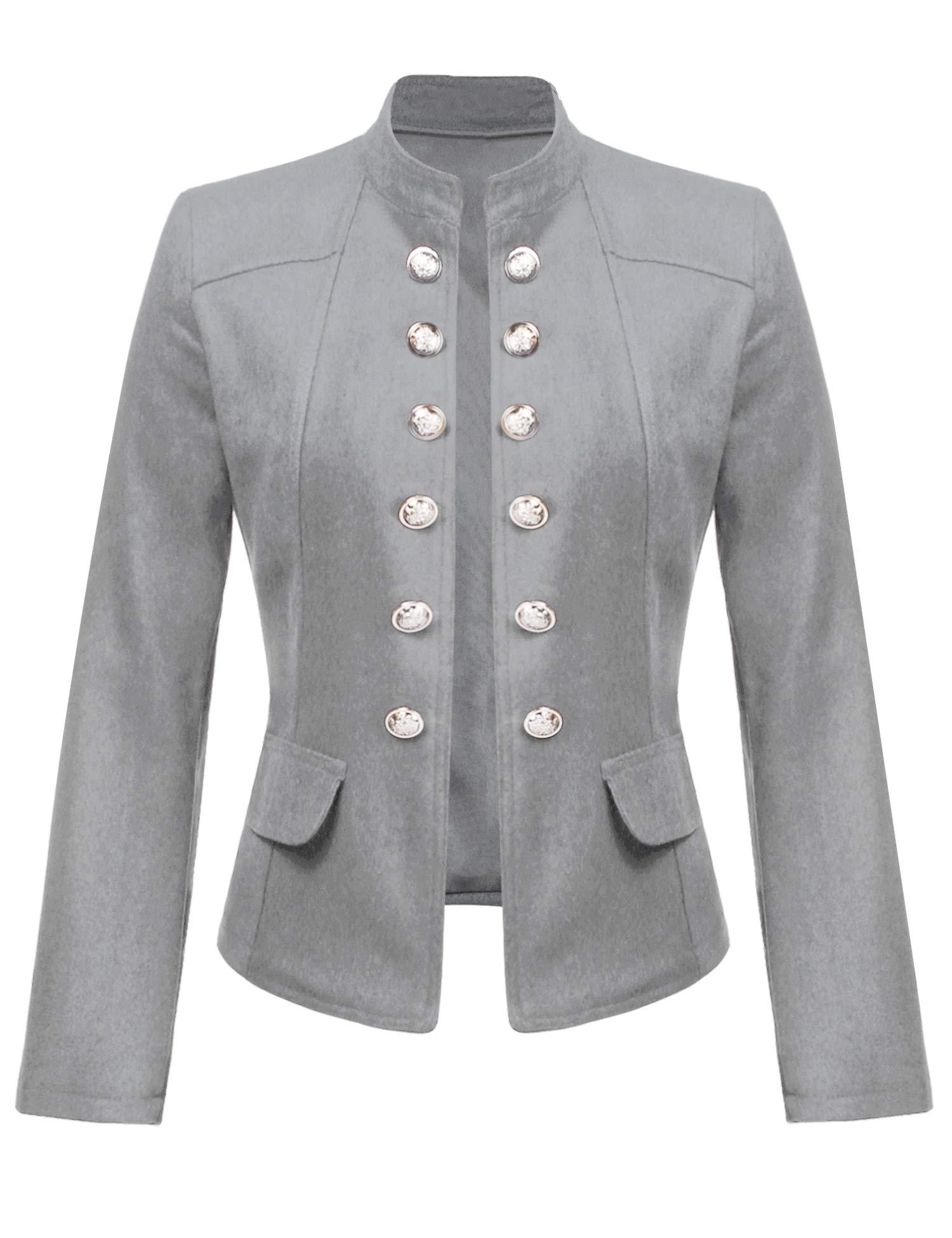 ELESOL Women's Long Sleeve Single Breasted Work Blazer Short Crop Jacket Coat Gray M