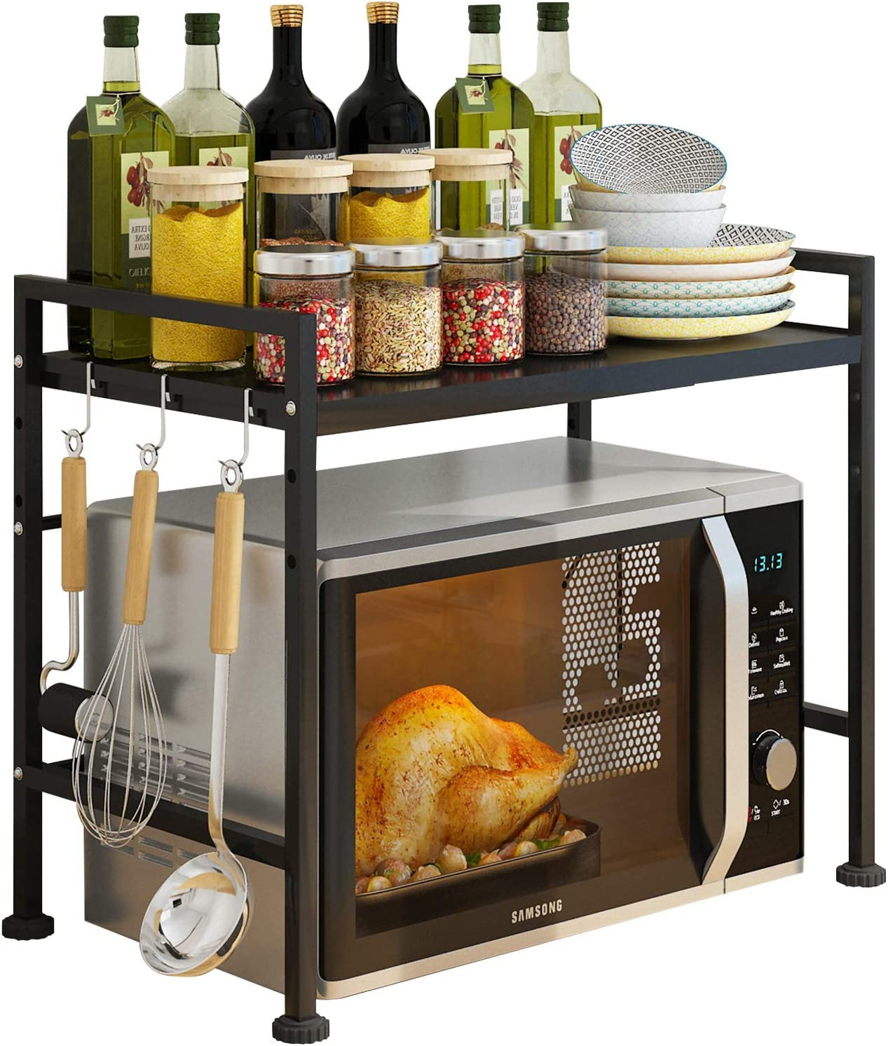 Expandable Microwave Oven Rack, AONUOJA 2-Tier Horizontal Extension Painted Carbon Steel Microwave Shelf, Kitchen Countertop Shelf with 3 Hooks, Counter Shelf Stand (Black)