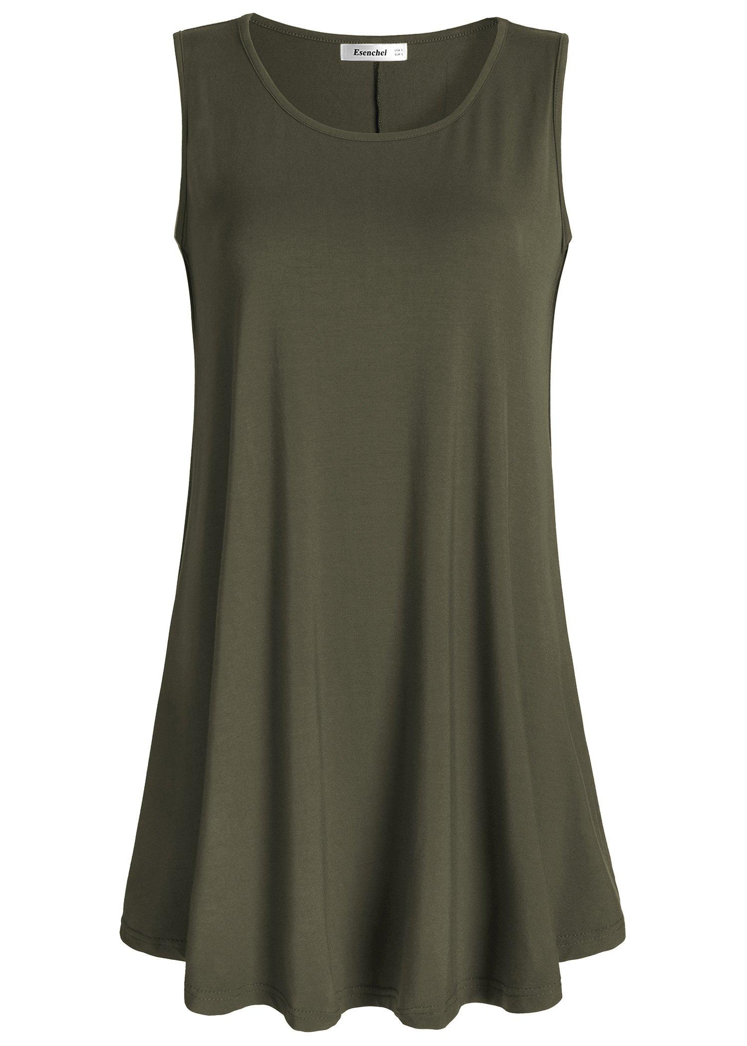 Esenchel Women's Flowy Sleeveless Tunic Top for Leggings XL Army Green
