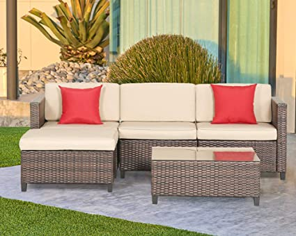 Delicieux LAHAINA 5 Piece Wicker Sectional Sofa Set   All Weather Brown Striped  Wicker Patio Furniture W