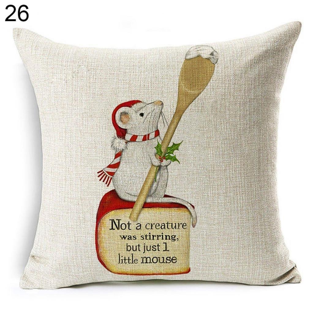 Ameesi Christmas Dog Santa Claus Reindeer Cushion Cover Throw Pillow Case Sofa Decor - #10 Santa Hat Black Labrador